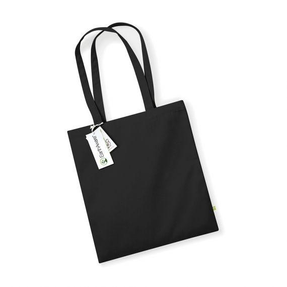 black personalized organic tote bag