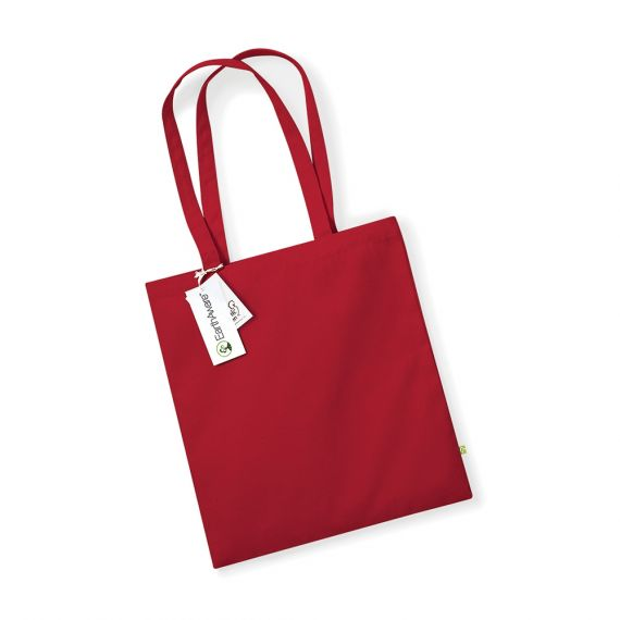 red custom organic tote bag