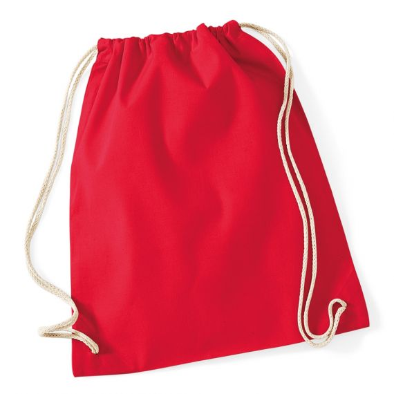 red custom cotton backpack