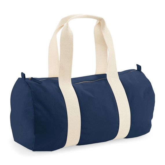 blank navy barrel bag